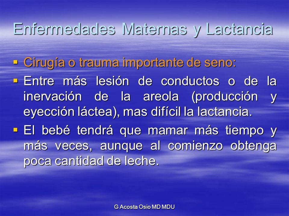 G Acosta Osio MD MDU Enfermedades Maternas y Lactancia Cirugía o trauma importante de seno: Cirugía o trauma importante de seno: Entre más lesión de c