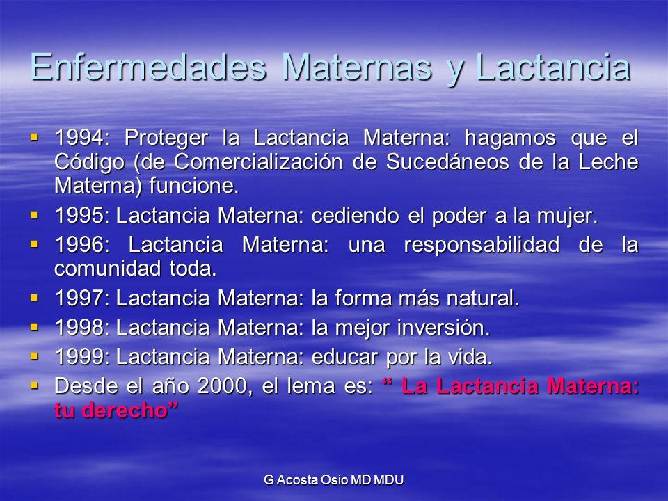 G Acosta Osio MD MDU Enfermedades Maternas y Lactancia 1994: Proteger la Lactancia Materna: hagamos que el Código (de Comercialización de Sucedáneos d