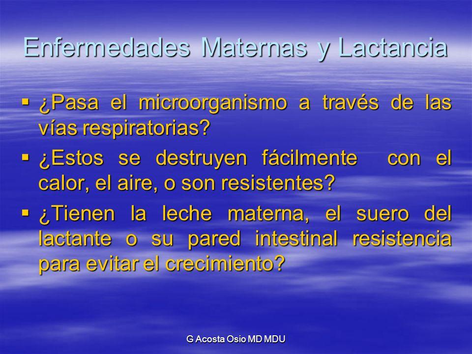 G Acosta Osio MD MDU Enfermedades Maternas y Lactancia Enfermedades Venéreas: Enfermedades Venéreas: Ninguna de las enfermedades venéreas se transmite a través de la leche materna.
