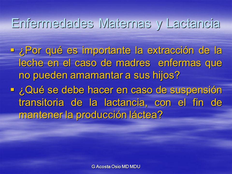 G Acosta Osio MD MDU Enfermedades Maternas y Lactancia Mastitis: Mastitis: Enrojecimiento, calor, severo dolor, dificultad para amamantar.