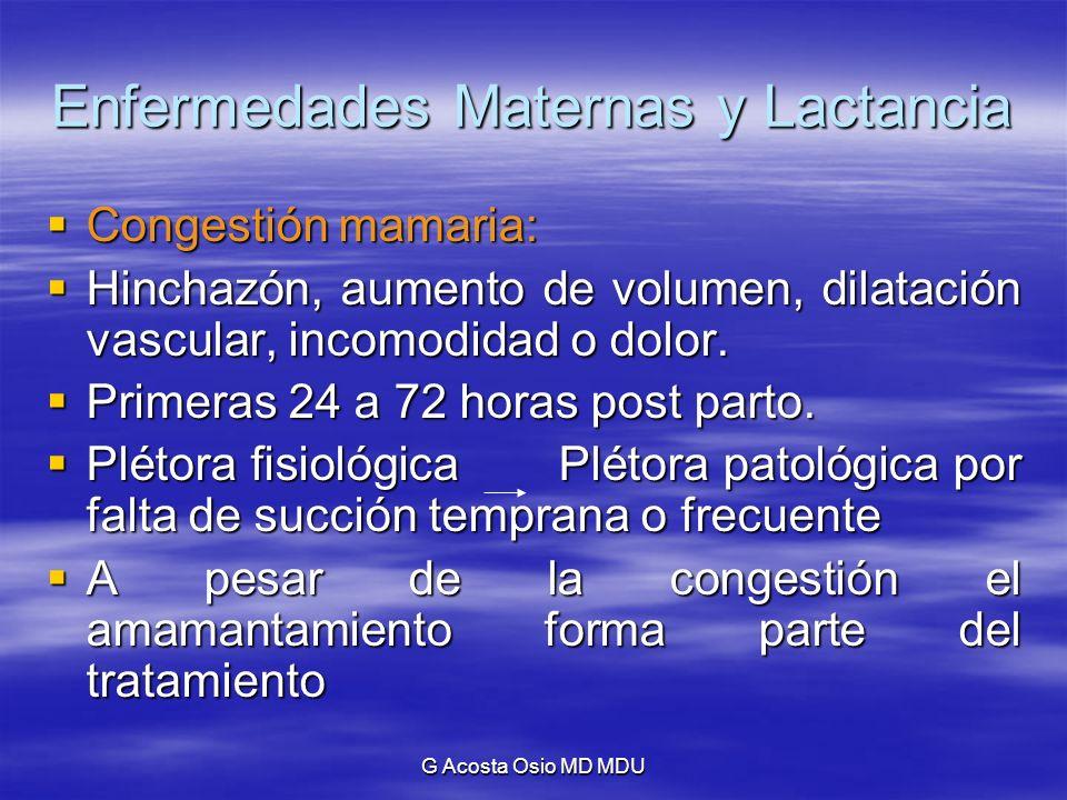 G Acosta Osio MD MDU Enfermedades Maternas y Lactancia Depresión post parto: Depresión post parto: Llora sin explicación, se siente fatigada, se torna irritable, no puede dormir, se siente incompetente.