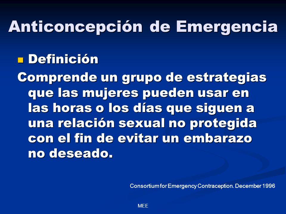 Anticoncepción de Emergencia Definición Definición Comprende un grupo de estrategias que las mujeres pueden usar en las horas o los días que siguen a una relación sexual no protegida con el fin de evitar un embarazo no deseado.