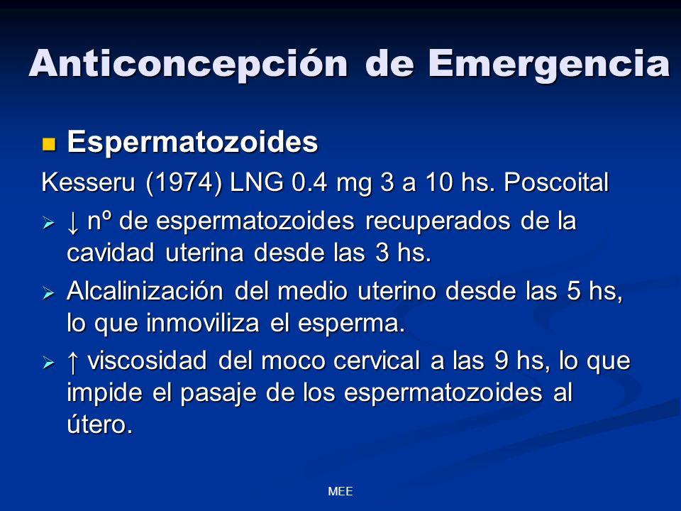 MEE Anticoncepción de Emergencia Espermatozoides Espermatozoides Kesseru (1974) LNG 0.4 mg 3 a 10 hs. Poscoital nº de espermatozoides recuperados de l