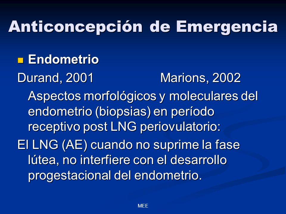 MEE Anticoncepción de Emergencia Endometrio Endometrio Durand, 2001Marions, 2002 Aspectos morfológicos y moleculares del endometrio (biopsias) en período receptivo post LNG periovulatorio: El LNG (AE) cuando no suprime la fase lútea, no interfiere con el desarrollo progestacional del endometrio.