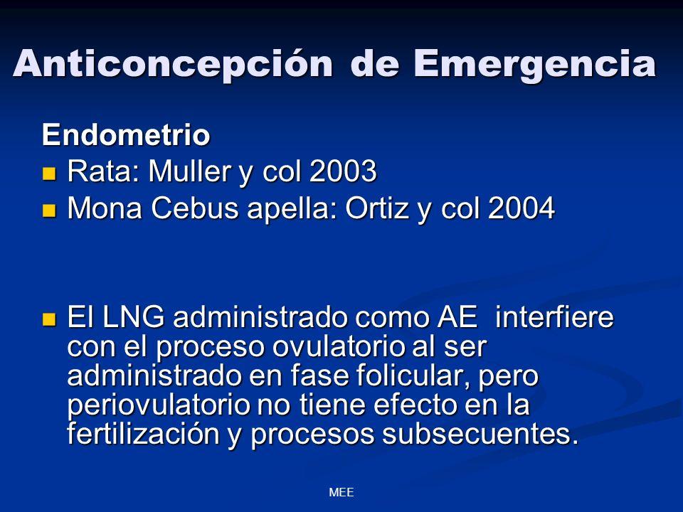 MEE Anticoncepción de Emergencia Endometrio Rata: Muller y col 2003 Rata: Muller y col 2003 Mona Cebus apella: Ortiz y col 2004 Mona Cebus apella: Ort