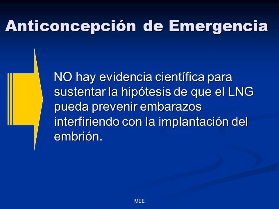 MEE Anticoncepción de Emergencia NO hay evidencia científica para sustentar la hipótesis de que el LNG pueda prevenir embarazos interfiriendo con la implantación del embrión.