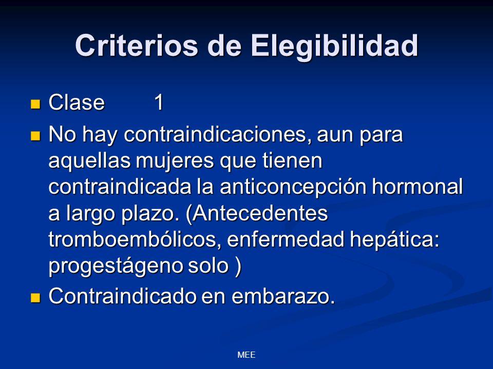 MEE Criterios de Elegibilidad Clase 1 Clase 1 No hay contraindicaciones, aun para aquellas mujeres que tienen contraindicada la anticoncepción hormona