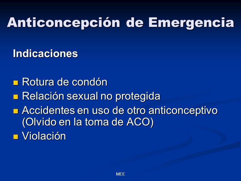 MEE Anticoncepción de Emergencia Indicaciones Rotura de condón Rotura de condón Relación sexual no protegida Relación sexual no protegida Accidentes e