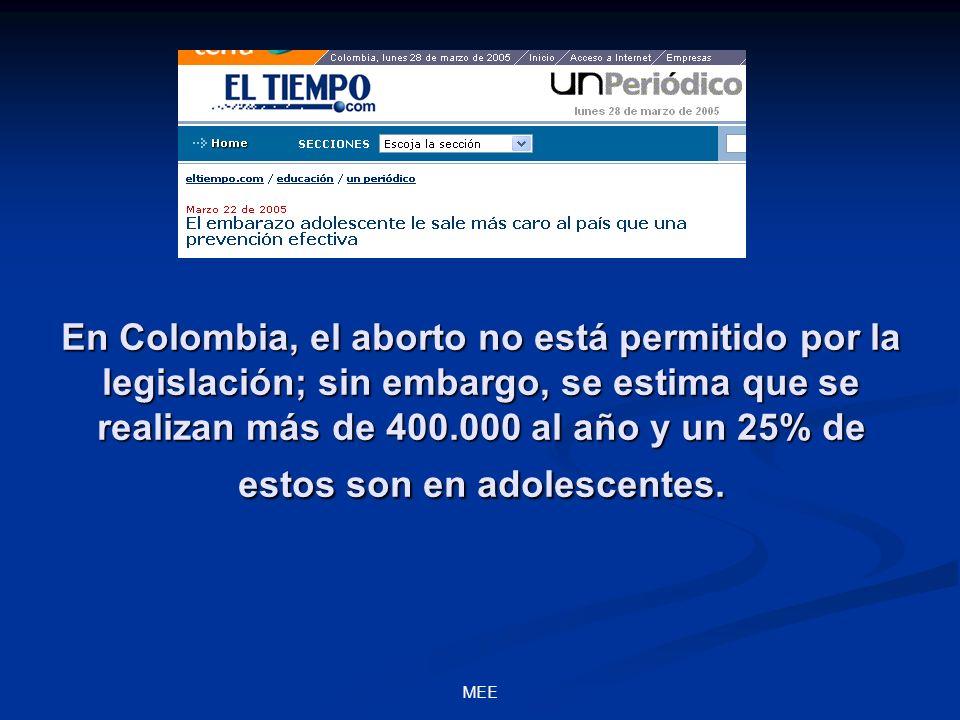 En Colombia, el aborto no está permitido por la legislación; sin embargo, se estima que se realizan más de 400.000 al año y un 25% de estos son en ado
