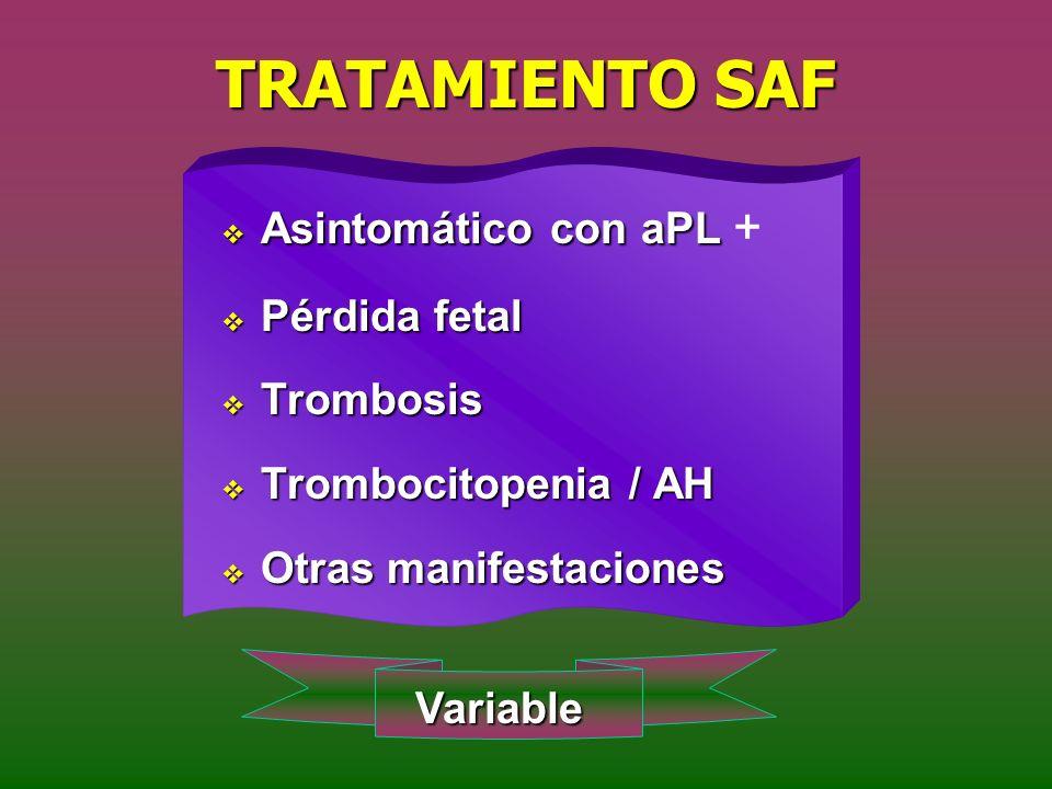 TRATAMIENTO SAF Asintomático con aPL Asintomático con aPL + Pérdida fetal Pérdida fetal Trombosis Trombosis Trombocitopenia / AH Trombocitopenia / AH