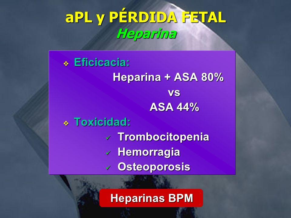 aPL y PÉRDIDA FETAL Heparina Eficicacia: Eficicacia: Heparina + ASA 80% vs ASA 44% ASA 44% Toxicidad: Toxicidad: Trombocitopenia Trombocitopenia Hemor