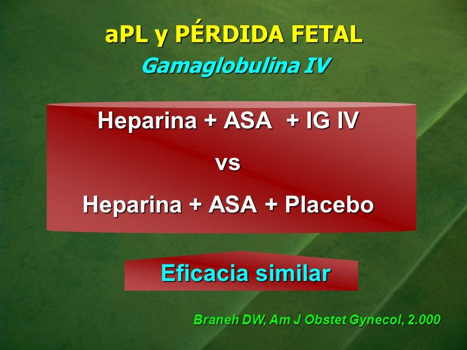 aPL y PÉRDIDA FETAL Gamaglobulina IV Heparina + ASA + IG IV vs Heparina + ASA + Placebo Eficacia similar Braneh DW, Am J Obstet Gynecol, 2.000