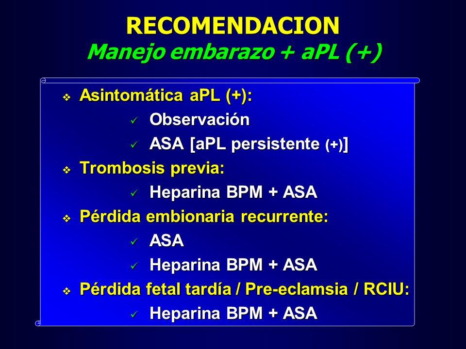 RECOMENDACION Manejo embarazo + aPL (+) Asintomática aPL (+): Asintomática aPL (+): Observación Observación ASA [aPL persistente (+) ] ASA [aPL persis