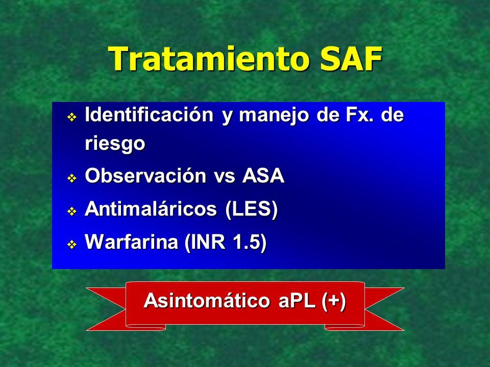 Tratamiento SAF Identificación y manejo de Fx. de riesgo Identificación y manejo de Fx. de riesgo Observación vs ASA Observación vs ASA Antimaláricos