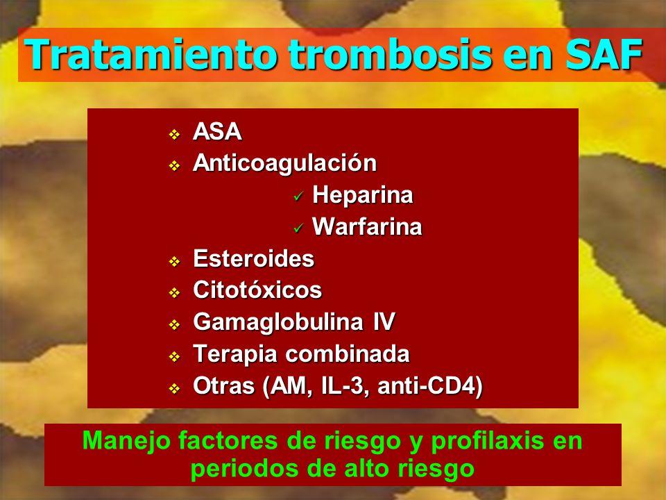 Tratamiento trombosis en SAF ASA ASA Anticoagulación Anticoagulación Heparina Heparina Warfarina Warfarina Esteroides Esteroides Citotóxicos Citotóxic