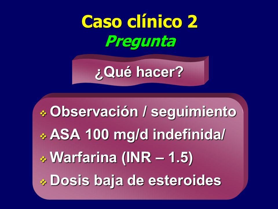 Caso clínico 2 Pregunta Observación / seguimiento Observación / seguimiento ASA 100 mg/d indefinida/ ASA 100 mg/d indefinida/ Warfarina (INR – 1.5) Wa