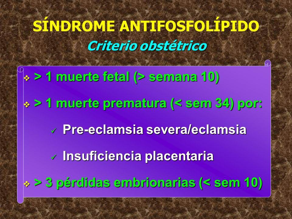Criterio obstétrico SÍNDROME ANTIFOSFOLÍPIDO Criterio obstétrico > 1 muerte fetal (> semana 10) > 1 muerte fetal (> semana 10) > 1 muerte prematura (