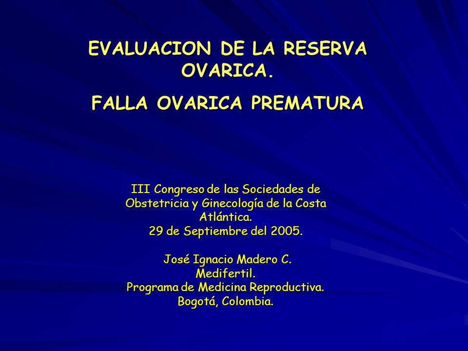 EVALUACION DE LA RESERVA OVARICA. FALLA OVARICA PREMATURA III Congreso de las Sociedades de Obstetricia y Ginecología de la Costa Atlántica. 29 de Sep