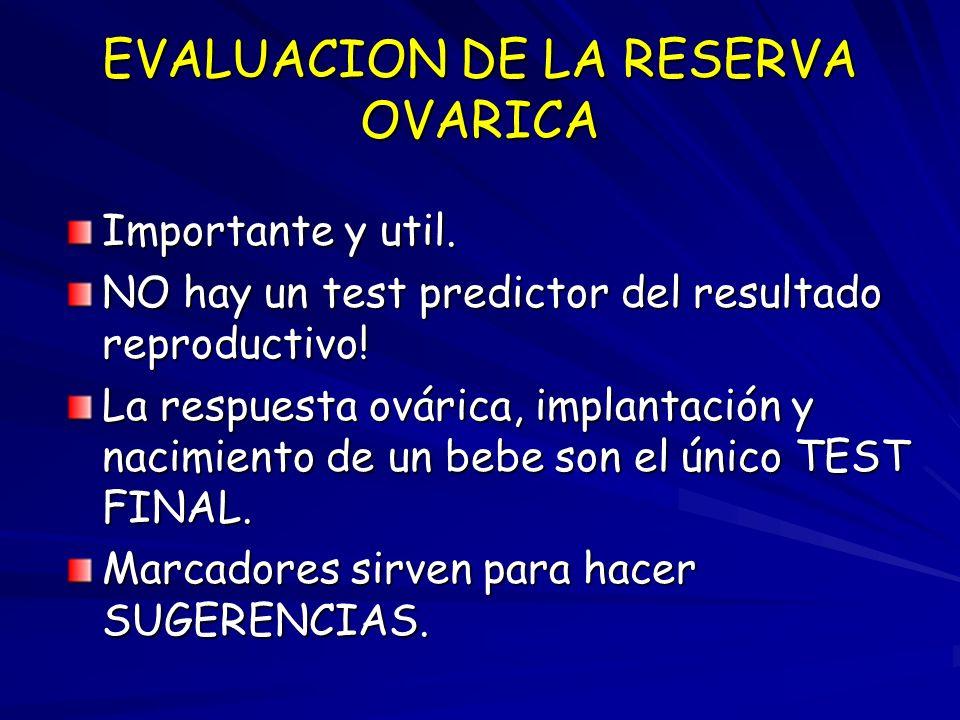 EVALUACION DE LA RESERVA OVARICA Importante y util. NO hay un test predictor del resultado reproductivo! La respuesta ovárica, implantación y nacimien