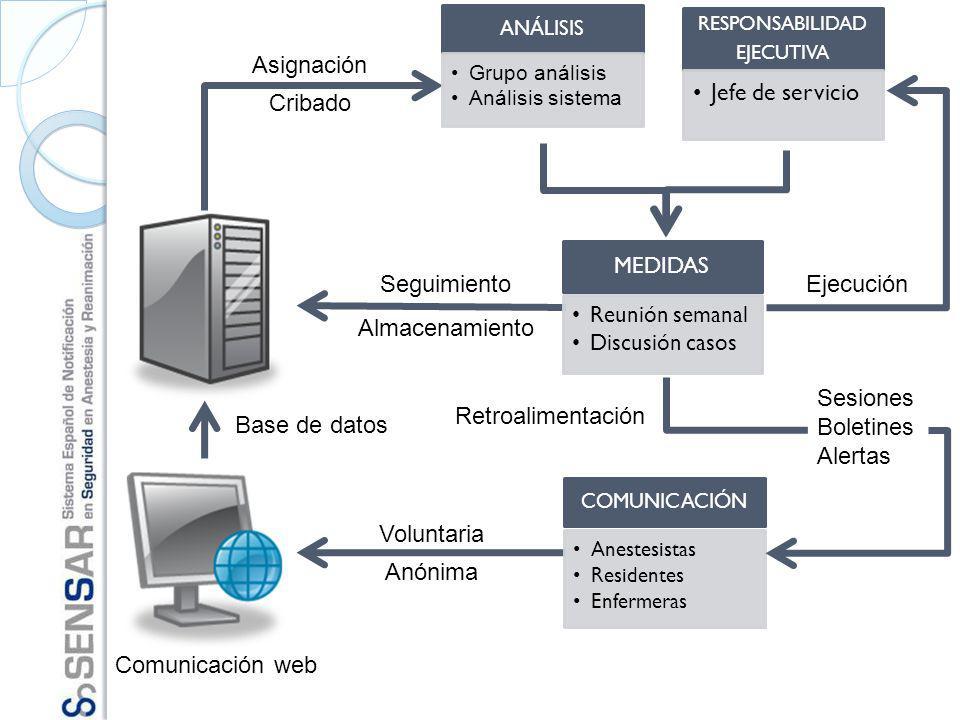 Comunicación web Voluntaria Anónima Base de datos Asignación Cribado Seguimiento Almacenamiento Retroalimentación Sesiones Boletines Alertas Ejecución