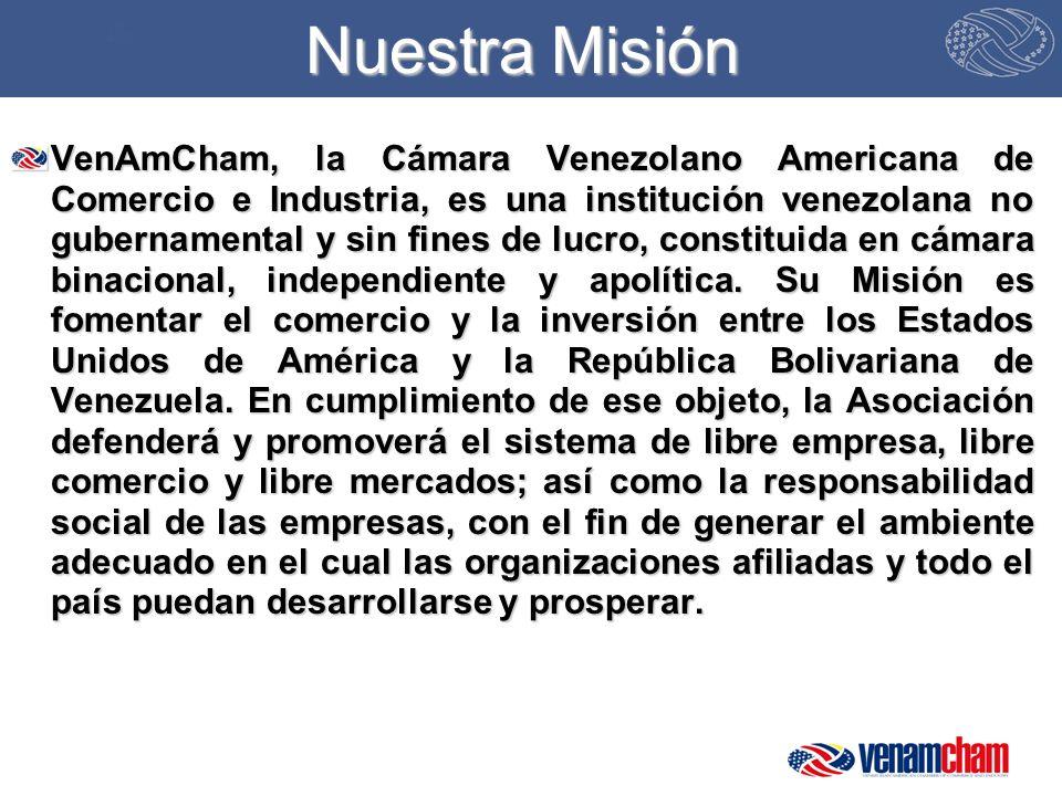 Nuestra Misión VenAmCham, la Cámara Venezolano Americana de Comercio e Industria, es una institución venezolana no gubernamental y sin fines de lucro, constituida en cámara binacional, independiente y apolítica.