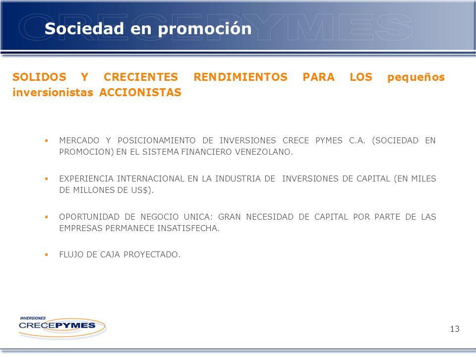 Sociedad en promoción 13 MERCADO Y POSICIONAMIENTO DE INVERSIONES CRECE PYMES C.A.