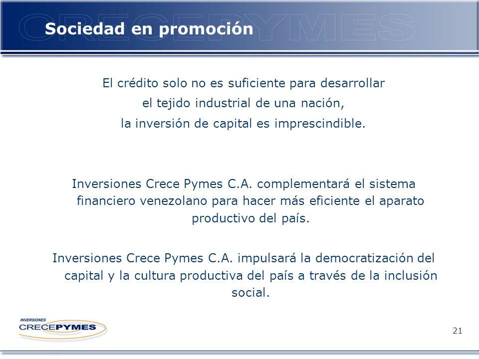 21 Sociedad en promoción El crédito solo no es suficiente para desarrollar el tejido industrial de una nación, la inversión de capital es imprescindible.
