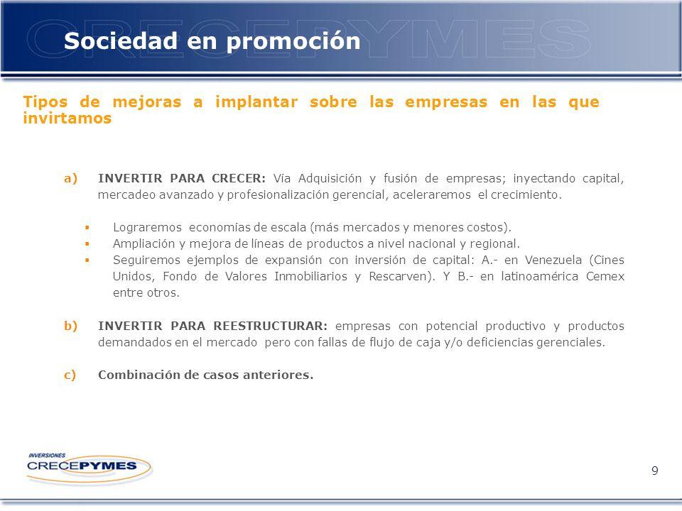 Sociedad en promoción 9 a)INVERTIR PARA CRECER: Vía Adquisición y fusión de empresas; inyectando capital, mercadeo avanzado y profesionalización gerencial, aceleraremos el crecimiento.