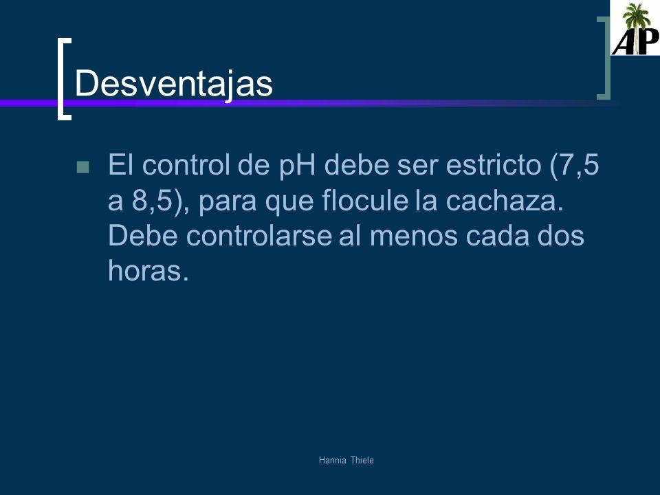 Hannia Thiele Desventajas El control de pH debe ser estricto (7,5 a 8,5), para que flocule la cachaza. Debe controlarse al menos cada dos horas.