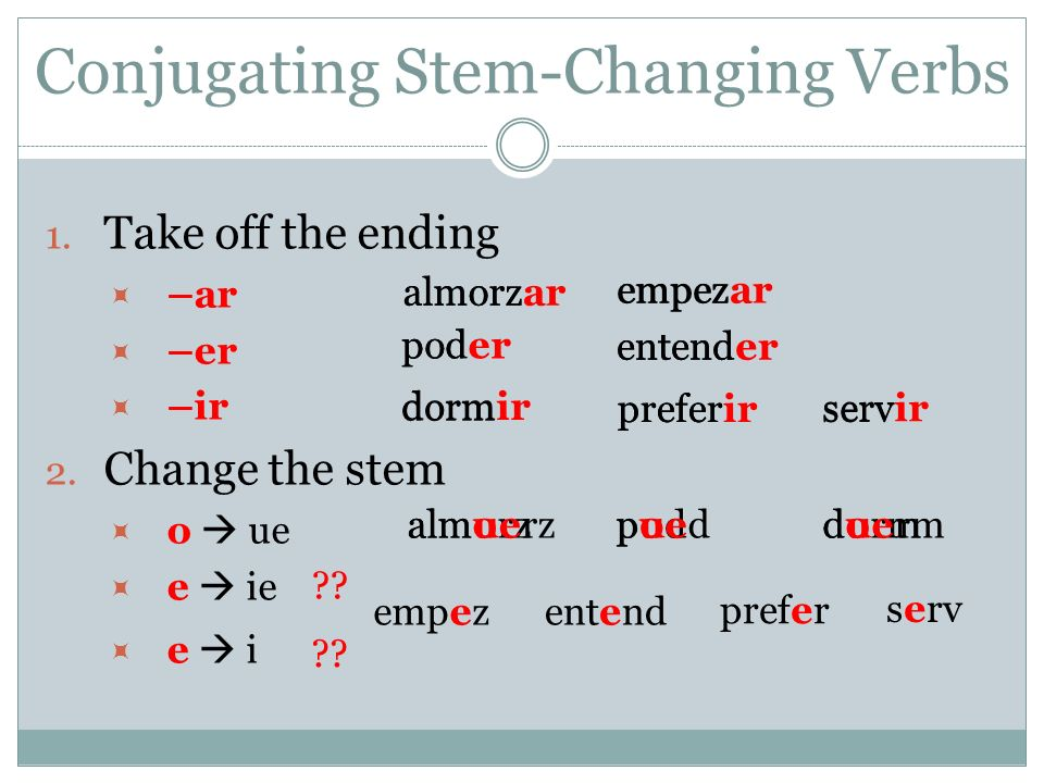 Conjugating Stem-Changing Verbs 2 Change the stem (continued) e ie OR e i ?.