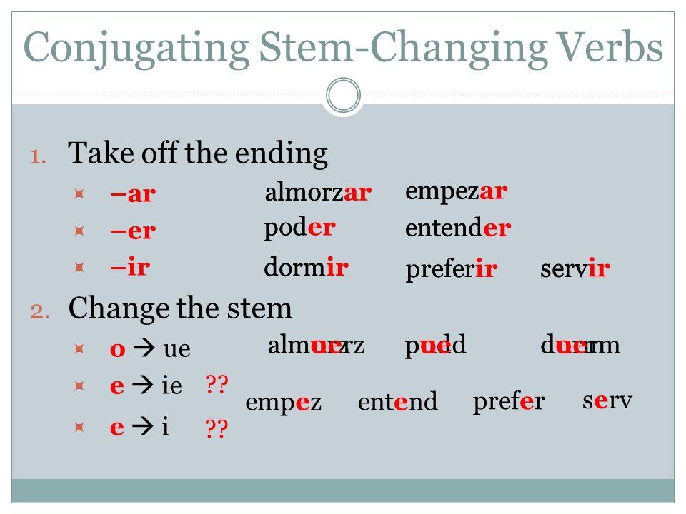 Conjugating Stem-Changing Verbs 1.Take off the ending –ar –er –ir 2.