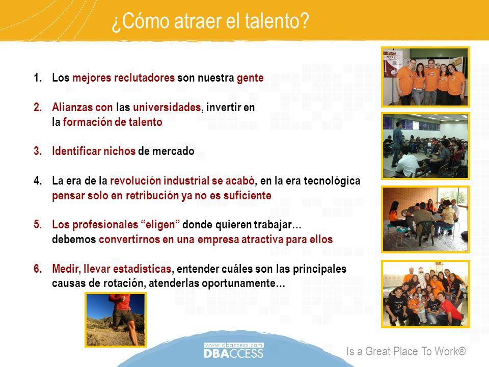 Is a Great Place To Work® talento@dbaccess.com + 1 (312) 224.8358 +58 (212) 761.9206 www.dbaccess.com Para mayor información sobre la gestión del talento en nuestra organización, por favor contáctenos a través de: ¡Talento DBAccess!