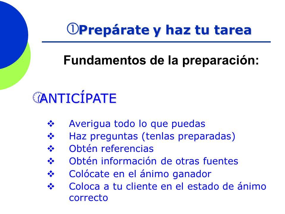 Fundamentos de la preparación: Prepárate y haz tu tarea Prepárate y haz tu tarea ANTICÍPATE ANTICÍPATE Averigua todo lo que puedas Haz preguntas (tenl