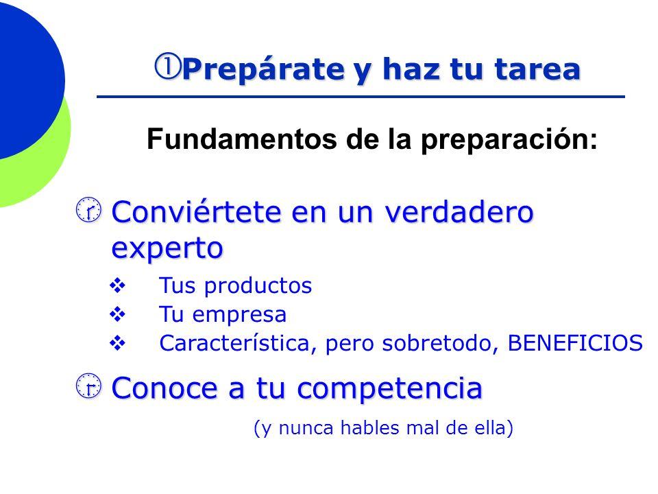 Fundamentos de la preparación: Prepárate y haz tu tarea Prepárate y haz tu tarea Conviértete en un verdadero experto Conviértete en un verdadero exper