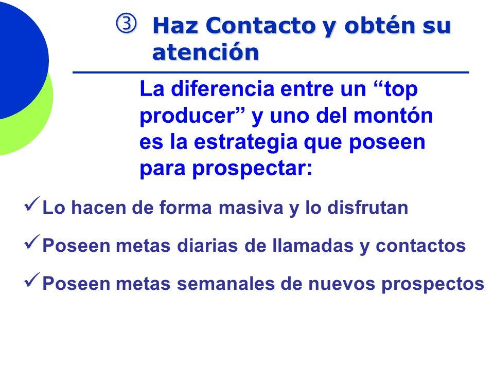 Haz Contacto y obtén su atención Haz Contacto y obtén su atención La diferencia entre un top producer y uno del montón es la estrategia que poseen par