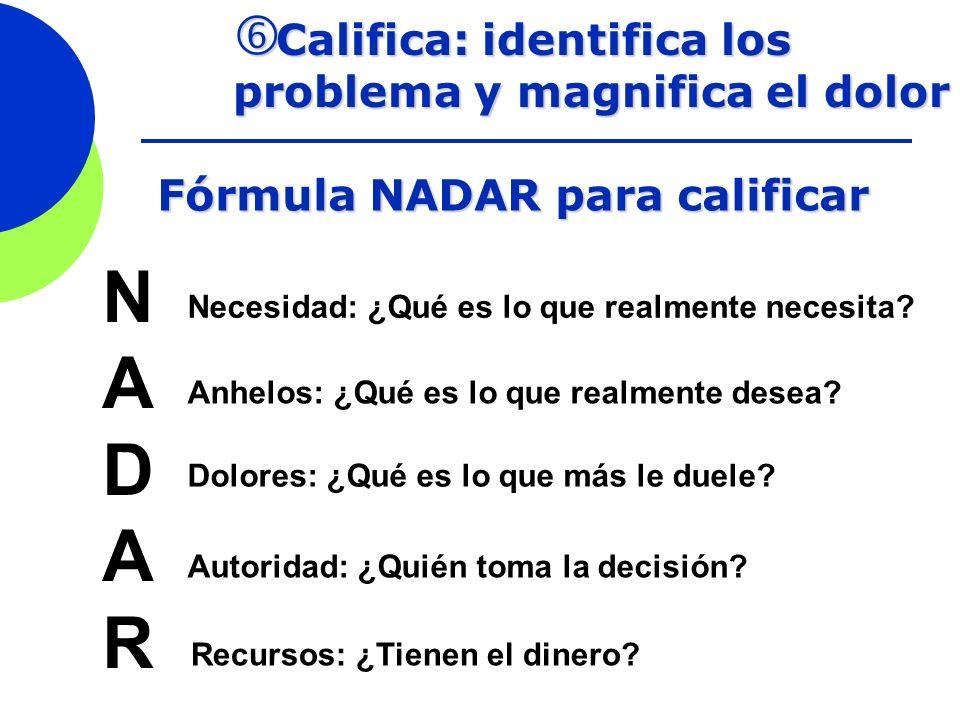Califica: identifica los problema y magnifica el dolor Califica: identifica los problema y magnifica el dolor Fórmula NADAR para calificar NADARNADAR