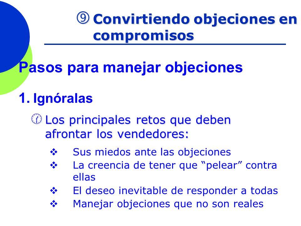 Convirtiendo objeciones en compromisos Convirtiendo objeciones en compromisos Pasos para manejar objeciones 1. Ignóralas Los principales retos que deb
