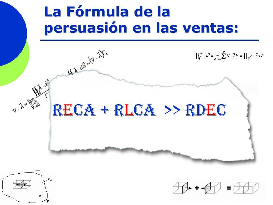 La Fórmula de la persuasión en las ventas: RECA + RLCA >> RDEc