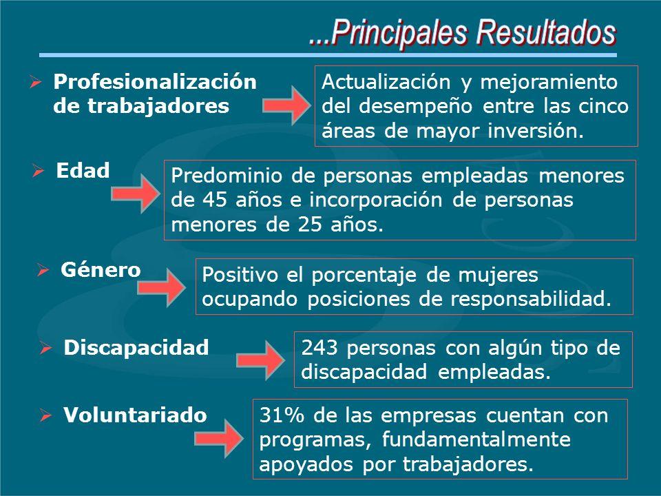 Edad Género Voluntariado Profesionalización de trabajadores Discapacidad Actualización y mejoramiento del desempeño entre las cinco áreas de mayor inversión.