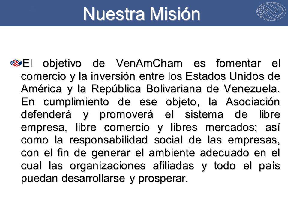 Nuestra Misión El objetivo de VenAmCham es fomentar el comercio y la inversión entre los Estados Unidos de América y la República Bolivariana de Venezuela.