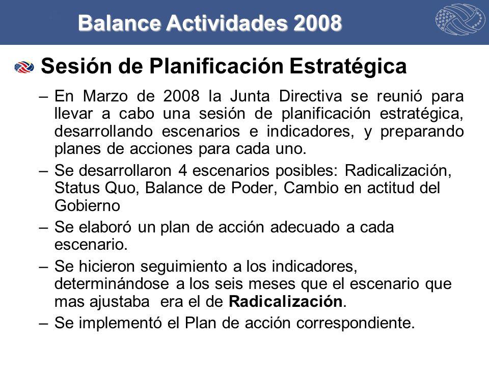 Sesión de Planificación Estratégica –En Marzo de 2008 la Junta Directiva se reunió para llevar a cabo una sesión de planificación estratégica, desarrollando escenarios e indicadores, y preparando planes de acciones para cada uno.