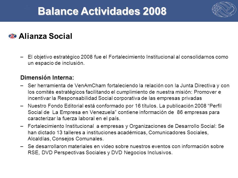 Alianza Social –El objetivo estratégico 2008 fue el Fortalecimiento Institucional al consolidarnos como un espacio de inclusión.