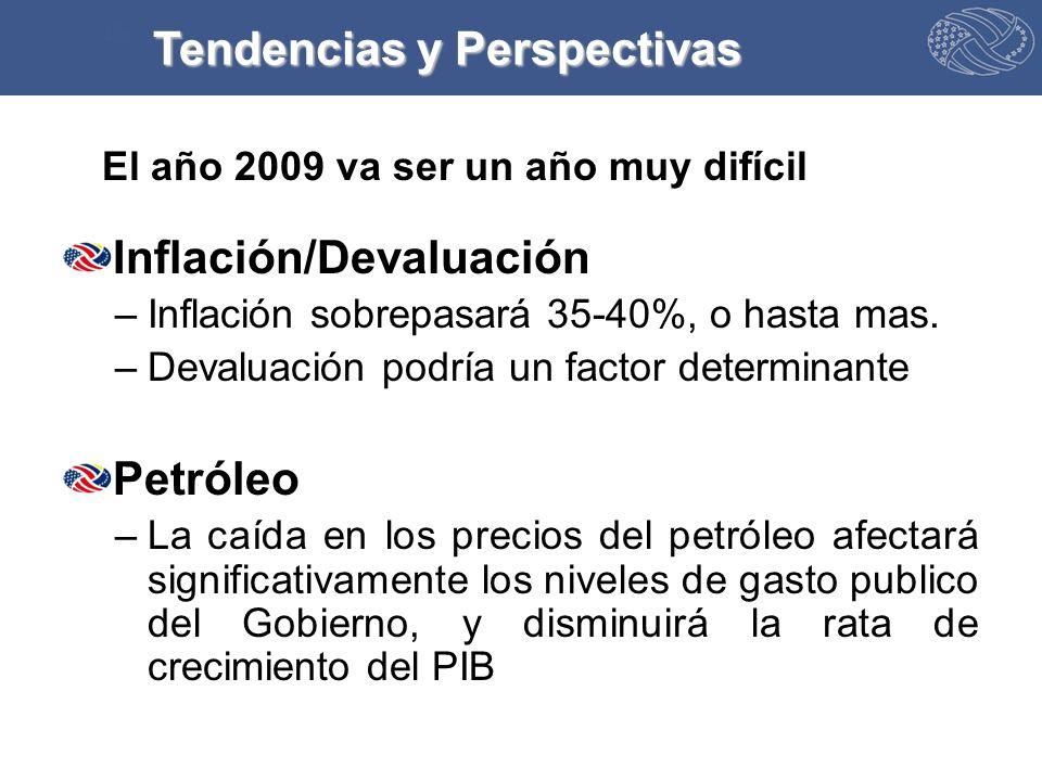 El año 2009 va ser un año muy difícil Inflación/Devaluación –Inflación sobrepasará 35-40%, o hasta mas.