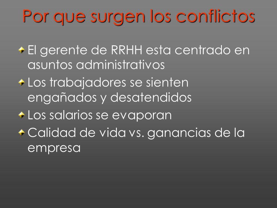 Por que surgen los conflictos El gerente de RRHH esta centrado en asuntos administrativos Los trabajadores se sienten engañados y desatendidos Los salarios se evaporan Calidad de vida vs.