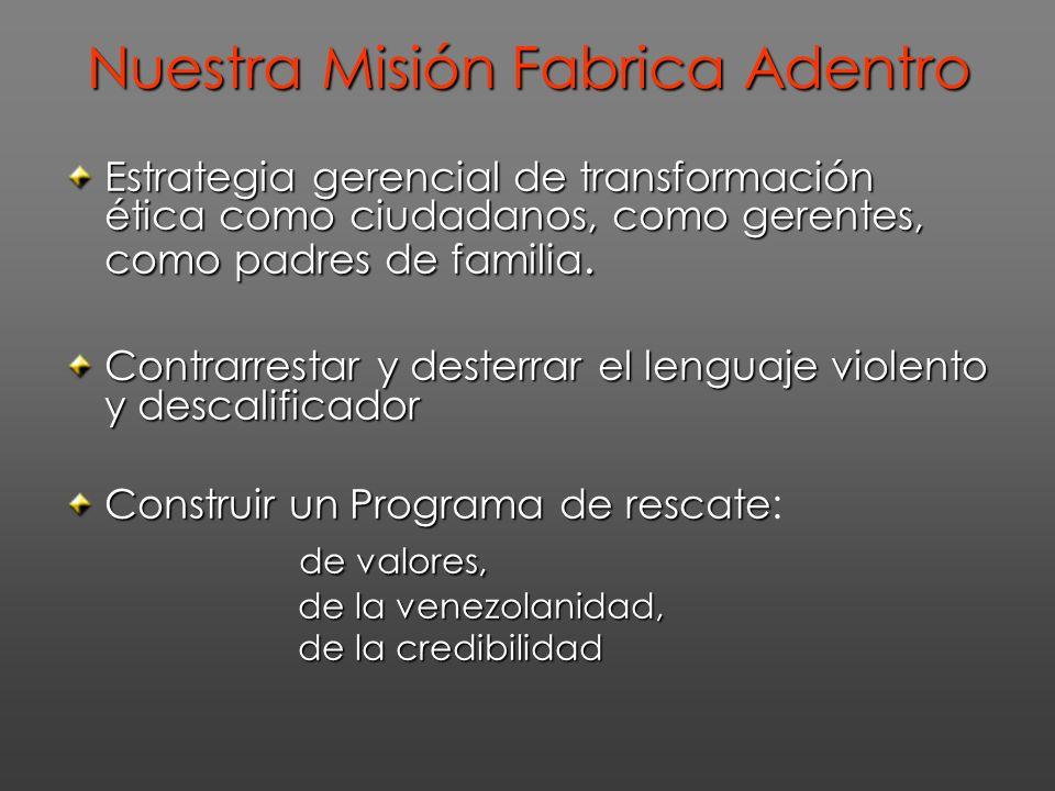 Nuestra Misión Fabrica Adentro Estrategia gerencial de transformación ética como ciudadanos, como gerentes, como padres de familia. Contrarrestar y de