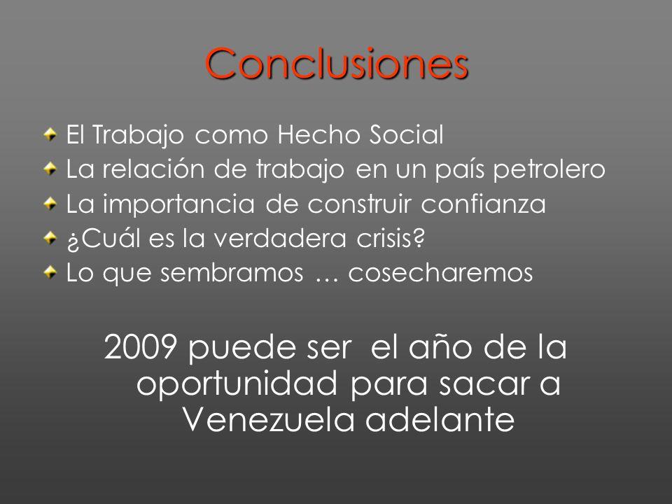 Conclusiones El Trabajo como Hecho Social La relación de trabajo en un país petrolero La importancia de construir confianza ¿Cuál es la verdadera crisis.