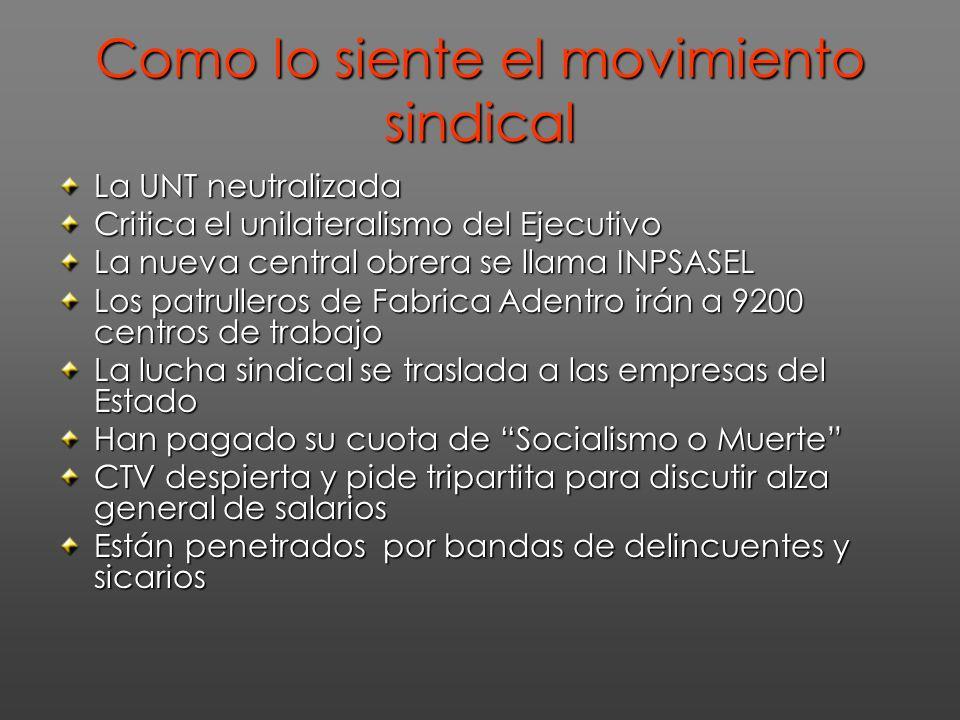 Como lo siente el movimiento sindical La UNT neutralizada Critica el unilateralismo del Ejecutivo La nueva central obrera se llama INPSASEL Los patrul