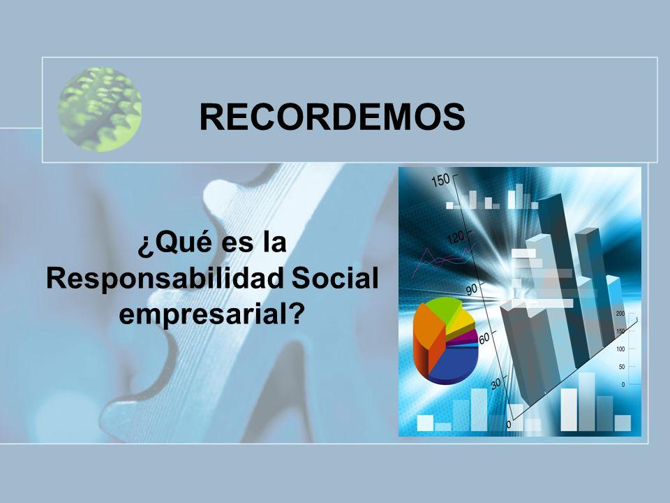 RECORDEMOS ¿Qué es la Responsabilidad Social empresarial?