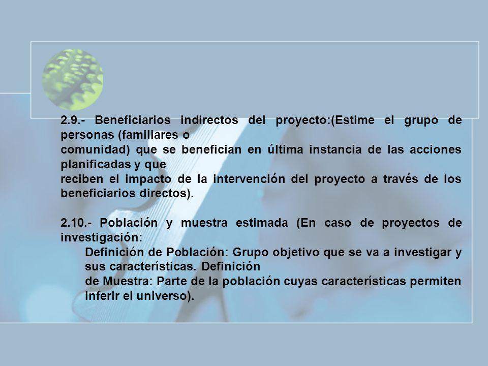 2.9.- Beneficiarios indirectos del proyecto:(Estime el grupo de personas (familiares o comunidad) que se benefician en última instancia de las accione