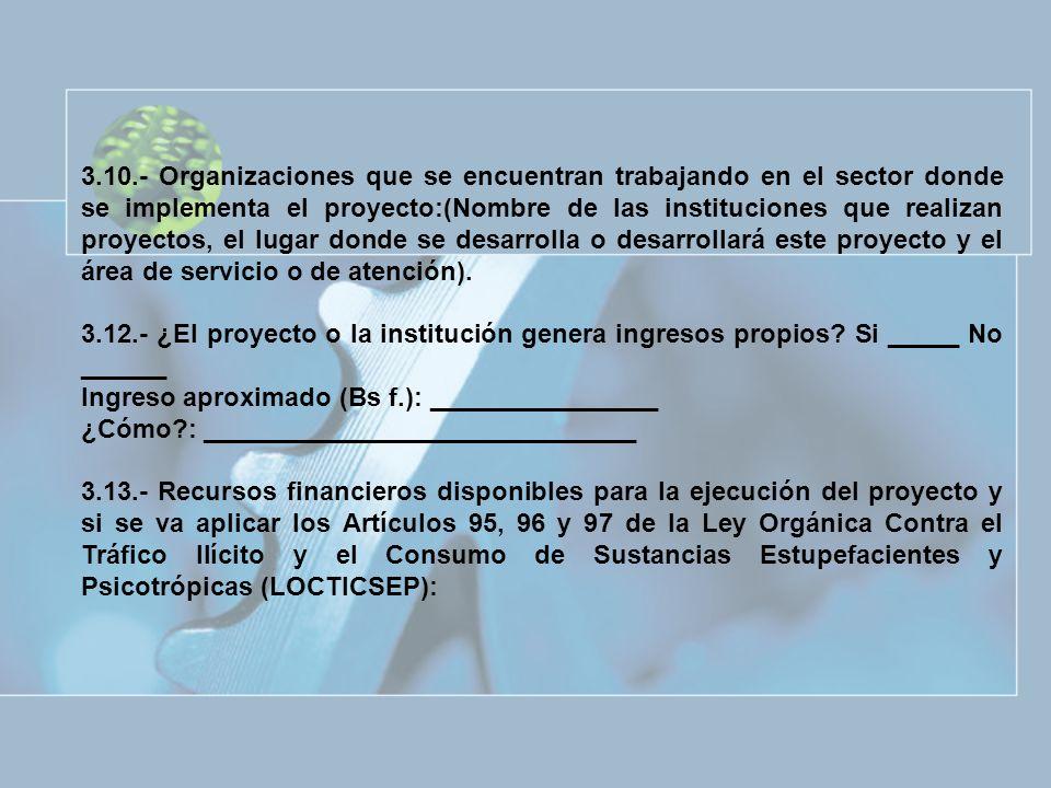 3.10.- Organizaciones que se encuentran trabajando en el sector donde se implementa el proyecto:(Nombre de las instituciones que realizan proyectos, e